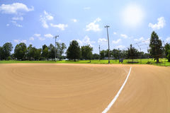 Поле бейсбола на солнечный день - Fisheye Стоковая Фотография RF