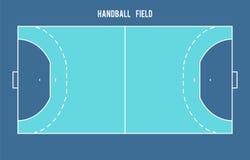 Поле гандбола Иллюстрация взгляд сверху Стоковые Изображения