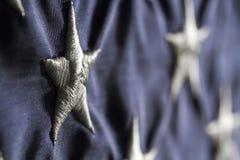 Поле горизонтального флага голубое с звездами Стоковое Фото