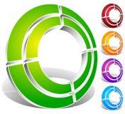 Поделенный на сегменты значок конспекта круга Круговой геометрический логотип, значок внутри Стоковое фото RF