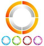 Поделенный на сегменты значок конспекта круга Круговой геометрический логотип, значок внутри Стоковая Фотография