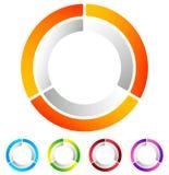 Поделенный на сегменты значок конспекта круга Круговой геометрический логотип, значок внутри Стоковые Изображения