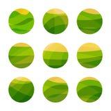 Поле зеленого цвета еды Vegan с желтым солнцем Вегетарианский ресторан, логотип кафа Изолированные абстрактные декоративные устан Стоковое Изображение RF