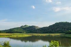 Поле и гора scape земли Стоковые Изображения