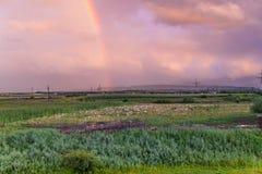 поле над радугой Стоковая Фотография RF