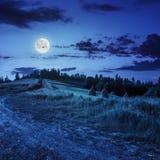Поле около дома на ноче Стоковое Фото