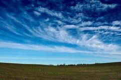 Поле осени под голубым облачным небом Стоковое Изображение