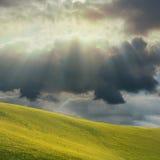 Поле травы и черной тучи с солнечным светом Стоковая Фотография RF
