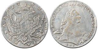 Поддельная старая русская серебряная монета 1 рубль Стоковые Изображения RF