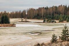 Поле для гольфа в земле зимы Стоковое Изображение