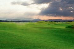 Поле для гольфа в свете лучей стоковая фотография