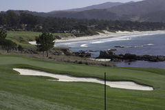 Поле для гольфа в Pebble Beach, Калифорнии Стоковые Фотографии RF