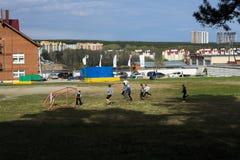 Поле для футбола в дворе стоковая фотография