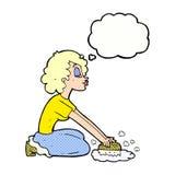 пол женщины шаржа scrubbing с пузырем мысли Стоковое Изображение