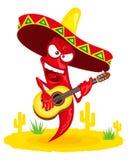Поджигатель перца горячего chili играет гитару Стоковое фото RF