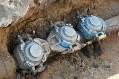 Подземная работа трубы проходя ремонт Стоковое Фото