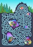 Подземный лабиринт для детей - цвет иллюстрация вектора