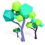 Полигональное дерево изолированное на белизне Стоковые Изображения RF