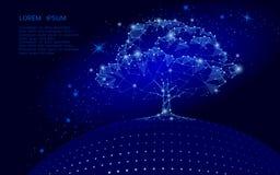 Полигональное дерево на синей предпосылке неба Концепция глобуса eco земли Соединенная линия иллюстрация точки корня жизни искусс Стоковое фото RF