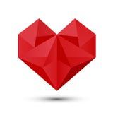 Полигональное красное сердце Стоковые Изображения
