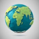 Полигональный значок глобуса Стоковое Изображение RF