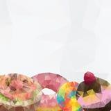 Полигональный донут, торты, сладостные Стоковая Фотография RF