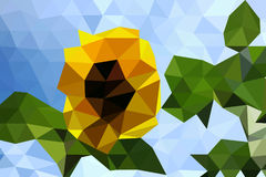 Полигональный солнцецвет Стоковые Изображения