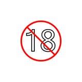 Под 18 линией значок, содержание взрослых только Стоковое фото RF