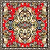 Подлинный silk дизайн картины шарфа или банданы шеи квадратный в u бесплатная иллюстрация