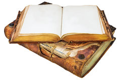 2 подлинных средневековых античных книги с космосом экземпляра Стоковая Фотография RF