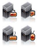 ПО интернета икон элементов конструкции компьютера 51e установленное иллюстрация штока