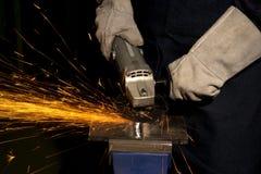 Полируя машина на работе металла Стоковое Изображение RF
