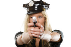 Полисмен женщина-полицейского с оружием Стоковые Изображения RF