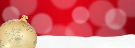 Полисмен copyspace предпосылки украшения знамени шарика рождества золотой Стоковая Фотография