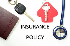 Полис страхования для много типов страхования Стоковая Фотография RF