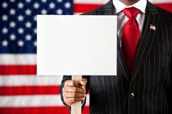Политик: Задерживать пустой знак Стоковая Фотография RF