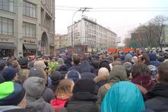 Политическая встреча предназначенная для того чтобы убить Борис Nemtsov в Москве Стоковые Фото