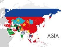 Политическая иллюстрация вектора карты Азии с флагами всех азиатских стран Стоковые Фотографии RF