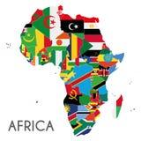Политическая иллюстрация вектора карты Африки с флагами всех стран Стоковое Изображение