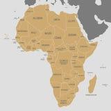 Политическая иллюстрация вектора карты Африки Editable и ясно Стоковые Фотографии RF
