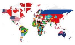 Политическая иллюстрация вектора карты мира с флагами всех стран Стоковые Фото