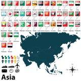Политическая карта Азии Стоковая Фотография RF