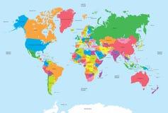 Политическая карта вектора мира Стоковое фото RF