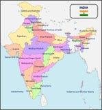 Политическая карта Индии с именами Стоковая Фотография