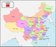 Политическая карта Китая с именами Стоковые Фотографии RF
