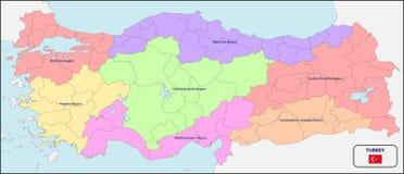 Политическая карта Турции с именами Стоковое Изображение RF