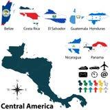Политическая карта Центральной Америки Стоковое фото RF