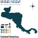 Политическая карта Центральной Америки Стоковая Фотография