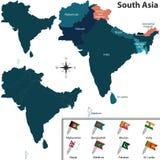 Политическая карта Южной Азии Стоковая Фотография