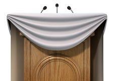 Подиум пресс-конференции с задрапировывать Стоковые Фото
